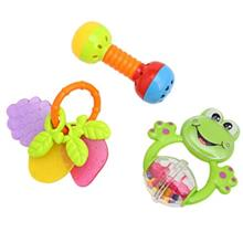 3PCS BABY COLORFUL HAND SHAKE BELL RING RATTLE FEEDER EDUCATIONAL TOY (#3)