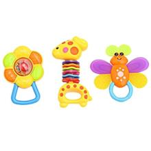 3PCS BABY COLORFUL HAND SHAKE BELL RING RATTLE FEEDER EDUCATIONAL TOY (#1)