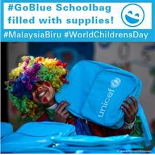 #GoBlue Schoolbag filled with supplies for learning)