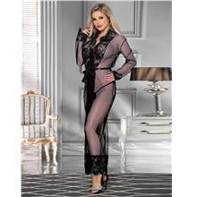 CELLY Black Long Sleepwear Delicate Lace Gown (CSOH R80507-1)