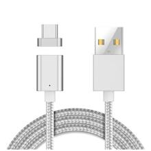 FOR SAMSUNG/HUAWEI/XIAOMI TYPE-C DEVICES MAGNETIC CABLE USB CHARGER (SILVER)