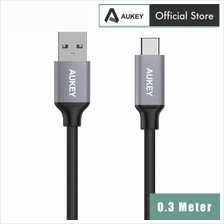 AUKEY USB C to USB 3.0 Durable Braided Nylon Cable - 0.3M)