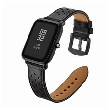 Genuine Leather Watch Strap 20mm for Xiaomi Huami Amazfit Youth Bit (BLACK)