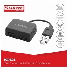 CLiPtec MOBILE COMBO ll USB + Micro OTG Combo Card Reader RZR535)