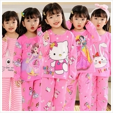 KP2001 Children Long Sleeve Cotton Pajamas Boys Girls Pyjamas Set