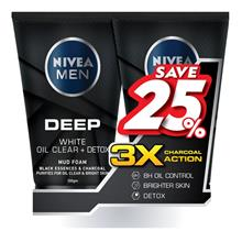 NIVEA FOR MEN Deep White Oil Clear Detox Mud Foam 2 x 100g
