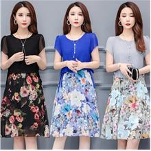 WD1223 Women Floral Combo Dress