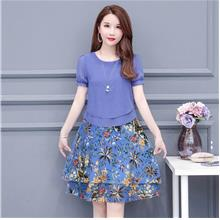 WD1219 Women Floral Combo Dress
