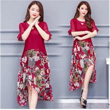 WD1208 Women Floral Up-Down Hem Combo Dress
