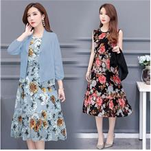 WD1206 Women Two-Piece Set Sleeveless Floral Dress + Cardigan