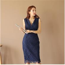 WD7607 Women Embroidered Lace Bodycon Dress
