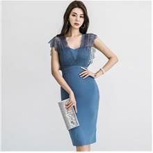 WD930 Women V-Neck Lace Bodycon Dress