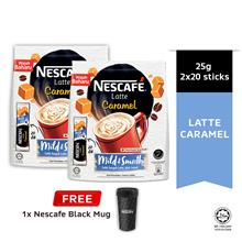 NESCAFE Latte Caramel 20 Sticks 25g Buy 2 Free Black Mug)