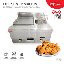 Gas Griddle with Deep Fryer 2 in 1 Machine Commercial Stainless Steel