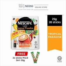 NESCAFE Latte Tropical Paradise 20 Sticks, 25g Each Free 2 Milo 33g