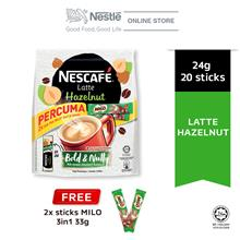 NESCAFE Latte Hazelnut 20 Sticks 24g Each Free 2 Milo 33g