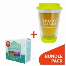 [BUNDLE] Rhymba Hills 400ml Double Wall Glass Mug + Sampler Pack Tea (10 Sache)