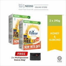 Nestle FITNESSE Honey Almond 390g Free Sleeve Bag Bundle of 2