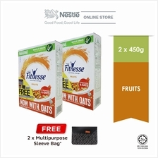 Nestle FITNESSE and Fruit Cereal 450g Free Sleeve Bag Bundle of 2 (Exp: Oct 20