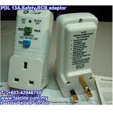 PDL 13A 240V Safety RCB (ELCB) Adaptor (10mA)