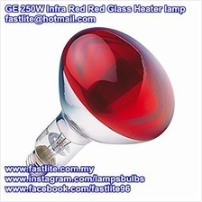 GE 250W Infrared Reflector Red Front Glass E27 Heater lamp