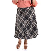 Jazz & Co Women Plus Size bias cut maxi skirt in checks dark gray
