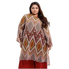 Jazz & Co Women Plus Size Long Sleeve tunic kurung in Brown