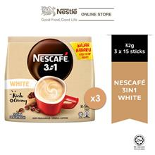 NESCAFE Blend and Brew White Coffee 15 Sticks 32g Each x3 packs