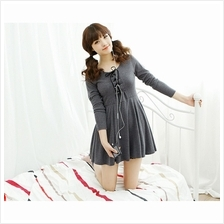 Fashionable Long Sleeve Dress - Grey