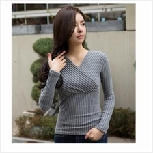 Fashionable Long Sleeve Grey Color Blouse