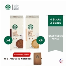 STARBUCKS Mocha and Latte Instant (4x22g) x4 boxes, FREE Notebook