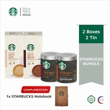 STARBUCKS Coffee Mixes and Coffee Ground Tin Bundle, FREE Notebook