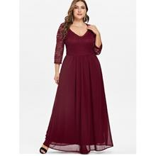 Plus Size Sweetheart Neck Lace Panel Maxi Dress (Red Wine)