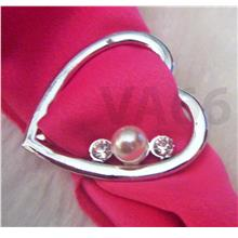 Heart Love Rhinestone White Pearl Scarf Ring Buckle Cincin Tudung