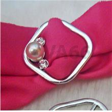 Diamond Rhinestone White Pearl Scarf Ring Silver Buckle Cincin Tudung
