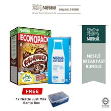 Just Milk Low Fat Milk 1L  & KOKO KRUNCH ECONO 500g, Free Lunch Box