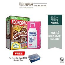 Just Milk Full Cream Milk 1L  & KOKO KRUNCH ECONO 500g, Free Lunch Box