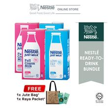 Nestle Just Milk Full Cream 1L and Low Fat 1L, Buy 2 Free Jute Bag