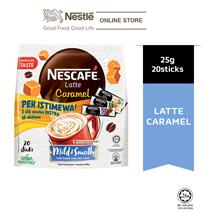 NESCAFE Latte Caramel 20 Sticks 25g, Free 3 Sampling Sachet