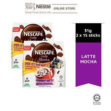 NESCAFE Latte Mocha 15 Sticks 31g x 2 Packs, Free 3 Sampling Sachet