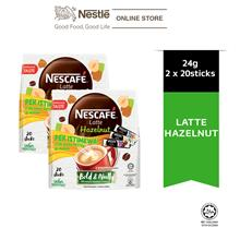 NESCAFE Latte Hazelnut 20 Sticks 24g x 2 Packs, Free 3 Sampling Sachet