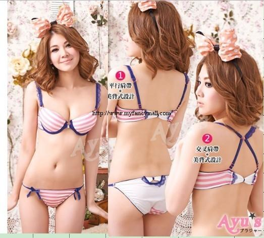 00101 Korean Style Embroidery Lace Push Up Bra Set