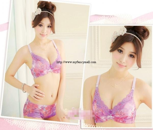 00136 Korean Style Embroidery Lace Push Up Bra Set