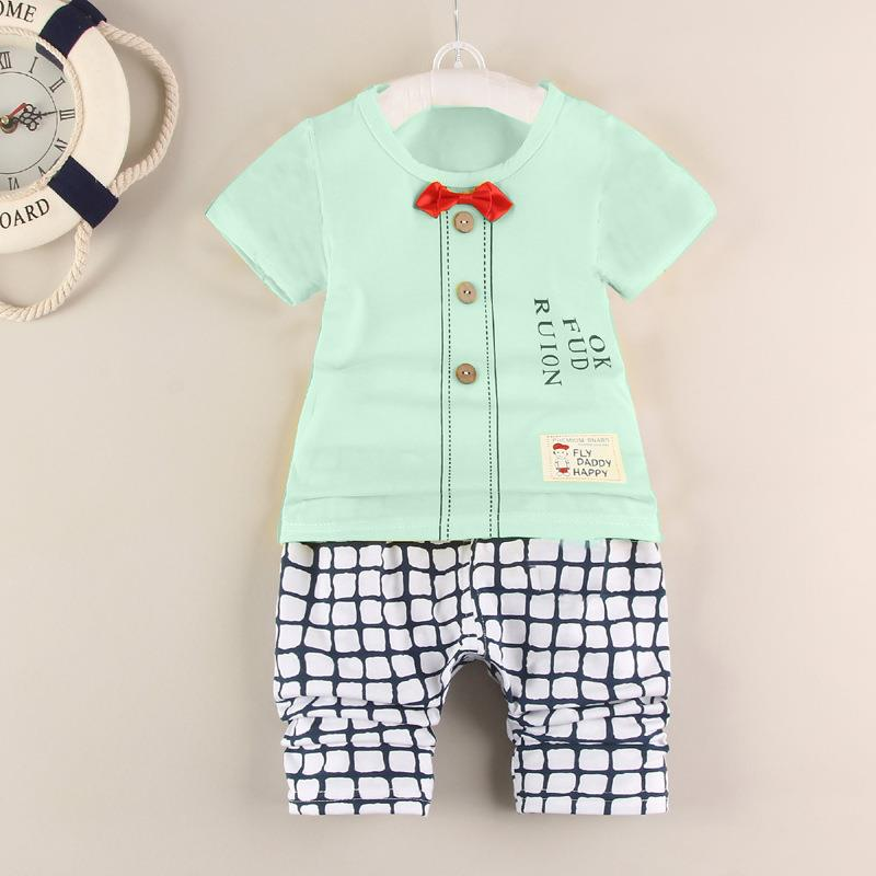 350724158 00310 Short Sleeves Bowknot Design Baby Kids Clothing Set. ‹ ›