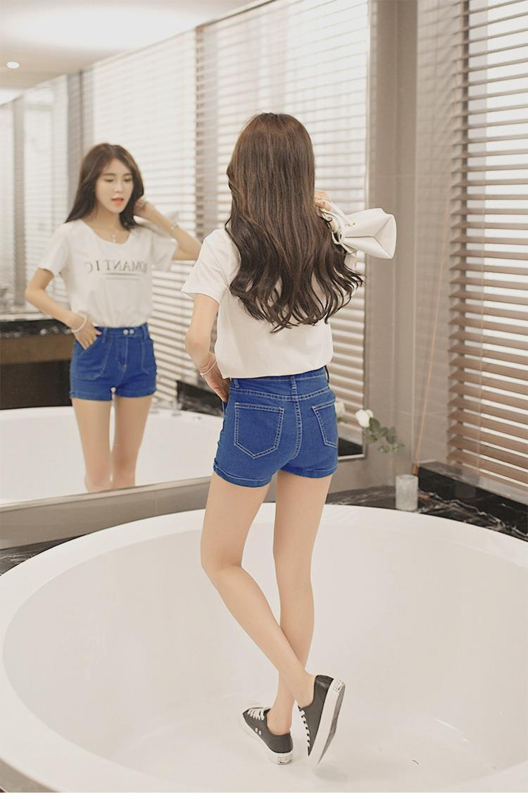 00360 Casual Double Button Short Denim Jeans