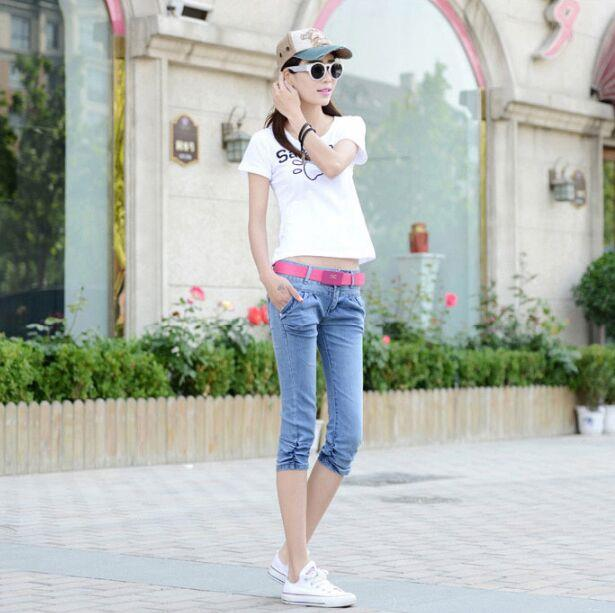 00366 Korean Style Slim Cut Cropped Jeans