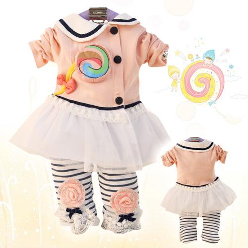 00406 Girl Long Sleeves Lollipop Clothing Set