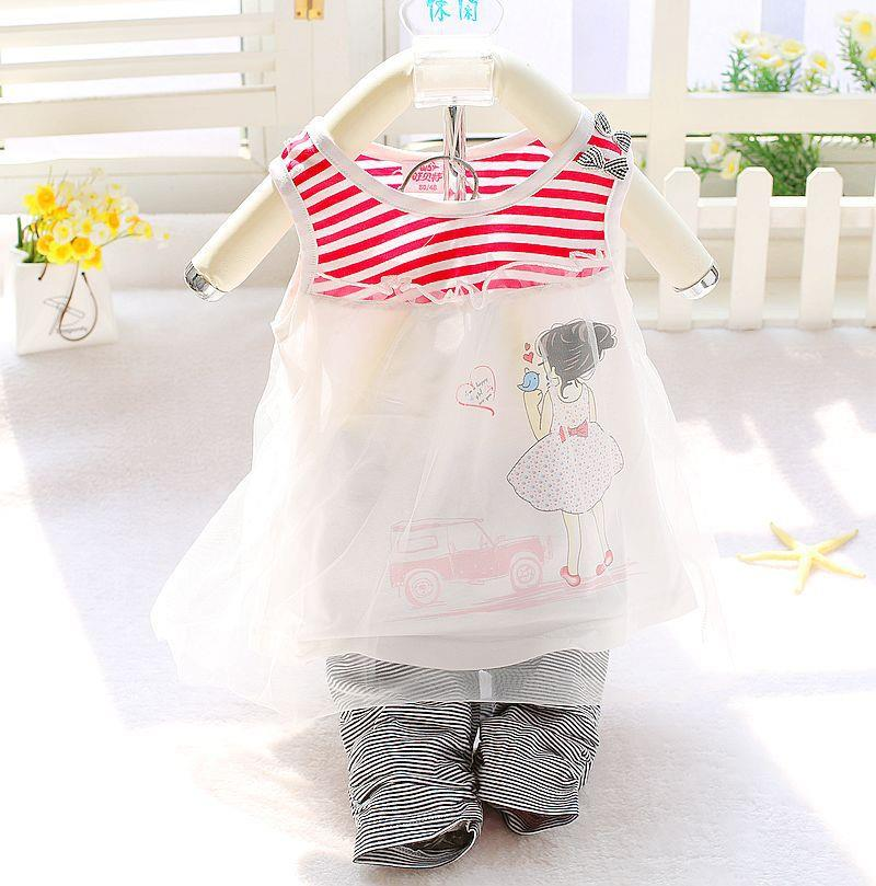 00409 Baby Girl Sleeveless Gauze Dress Set
