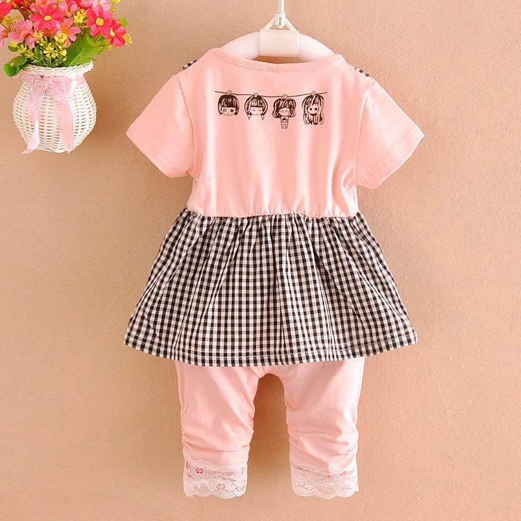 00414 Short Sleeves Baby Girl Bib Dress Set