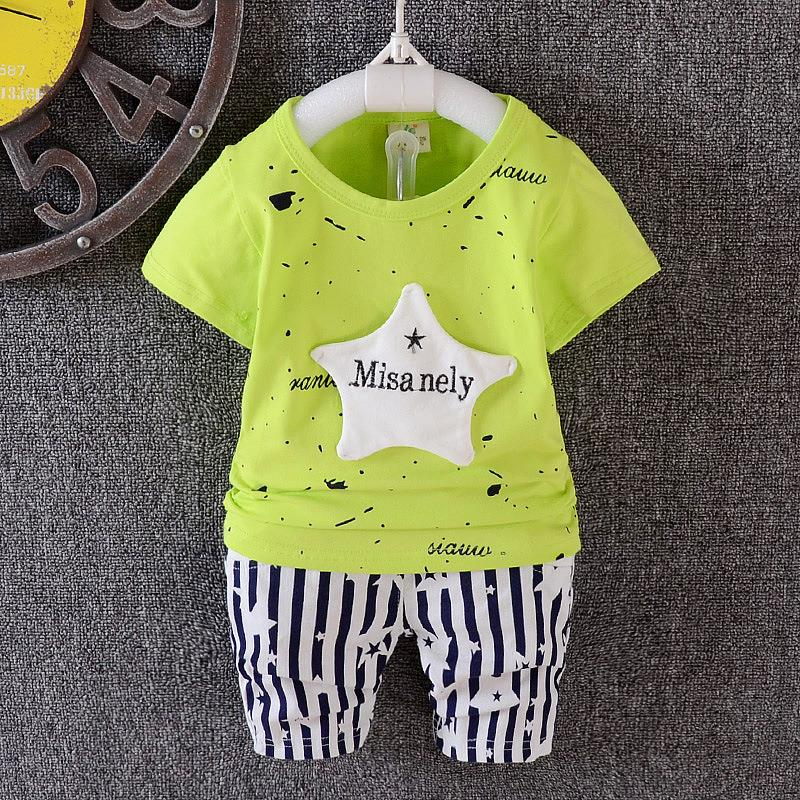 00421 Baby Kids Short Sleeves Star Design Clothing Set